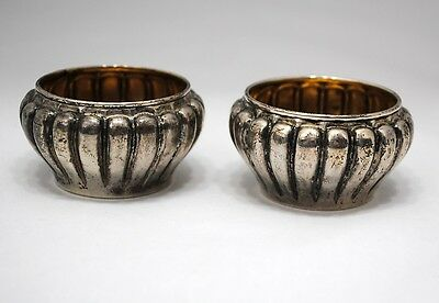 Pair of Sterling Silver Ribbed Salt Dip Cellars with Gold Wash Interior