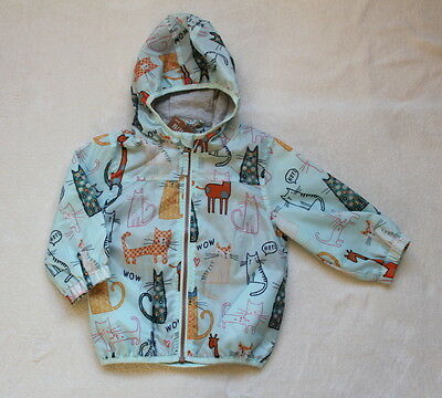 ***BNWT Next baby girl Cats Blue rain coat jacket pack-a-mac 9-12 months***