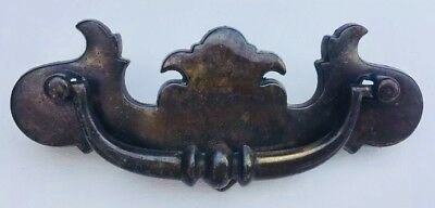 "Brass Vintage Antique Hardware Chippendale drawer pull 4"" inch centers Batwing"