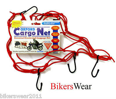 Oxford Cargo Net 12x12'' Red Essential Motorcycle Elasticated Luggage Net