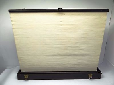 Vintage Leather Handle Movie Fold Out Portable Self Supporting Raven Screen Corp
