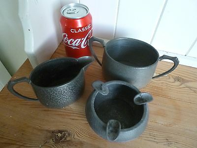 Pewter Jug, Ash Tray, And Two-Handled Pot, Three-Pieces, Made In England,