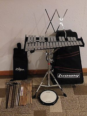 Ludwig Xylophone Bell Kit Student Percussion Set w/Case, Stand, and Practice Pad