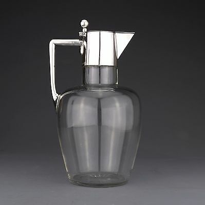 ANTIQUE GERMAN SOLID SILVER AND CUT GLASS CLARET JUG / WINE EWER c.1910