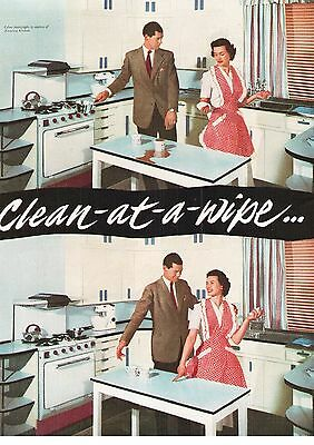 Formica Laminated Plastic Sheet table Clean At A Wipe 1954 Vintage Advert
