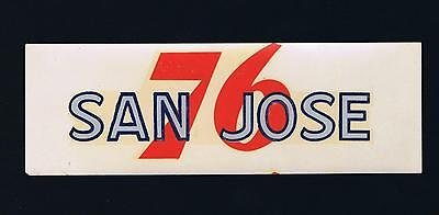 Union Oil 76 Decal SAN JOSE Unused 1939-1940's Vintage Gas Station Souvenir