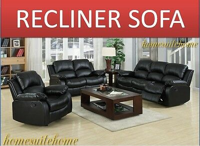 Valencia 3+2 Seater Recliner Sofa in bonded leather Black
