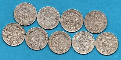 Date Run Of 9 X Silver Shilling Coins. Queen Victoria Veiled Head. 1893 - 1901