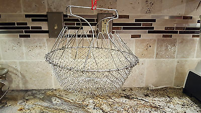 Vintage Silver Collapsible Wire Farm Egg Basket With Handles