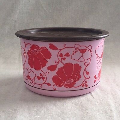 TUPPERWARE 4 c Canister Pink Red Floral Design w/ Brown Lid