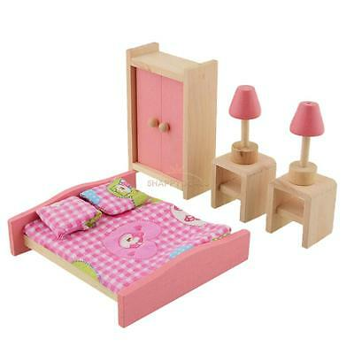 Kids Pretend Role Play Wooden Toy Dollhouse Bedroom Miniature Furniture Set Pink