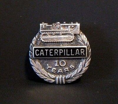 Caterpillar Crawler Tractor Employee 10 Year Service Award Pin  STERLING SILVER