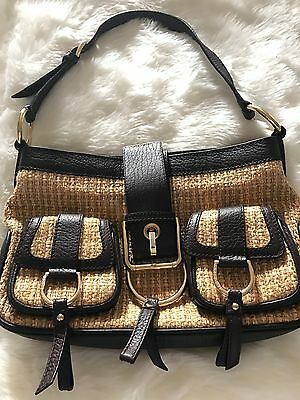 daff6ede626 Dolce   Gabbana  1300 Bag Purse Brown Italy Leather Straw Weaved Outside