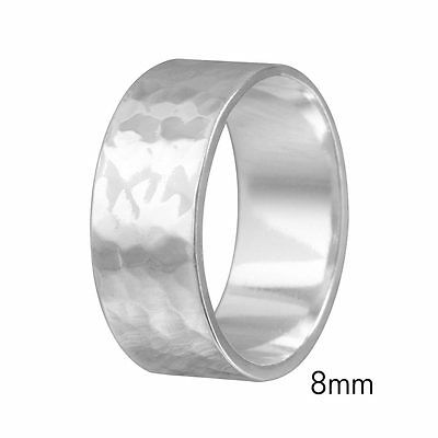 8mm Men & Women Sterling Silver Hand Hammered FLAT Wedding Band Ring