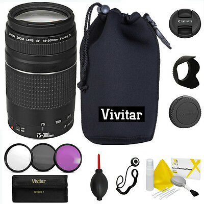 Canon EF 75-300mm f/4.0-5.6 III Lens + NEOPRENE CASE+ GIFTS FOR CANON T3 T5 T3I