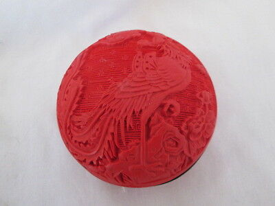 Oriental Chinese Cinnabar ? Carved Exotic Bird Red Covered Tinket Box Dish