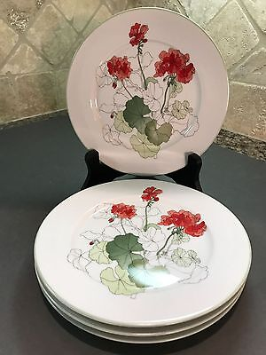 Block Spal watercolors Geranium dessert plates by Mary Lou Goertzen - Vintage!