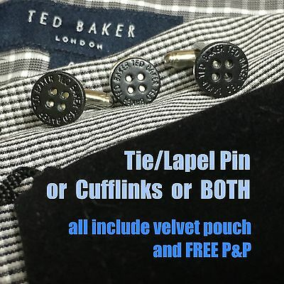 New Mens Ted Baker Black Button Silver Plated Cufflinks Tie Lapel Pin + Pouch