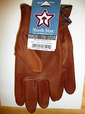 #750 Size Small Brown Goatskin Leather MOTORCYCLE Gloves Union Made in the USA
