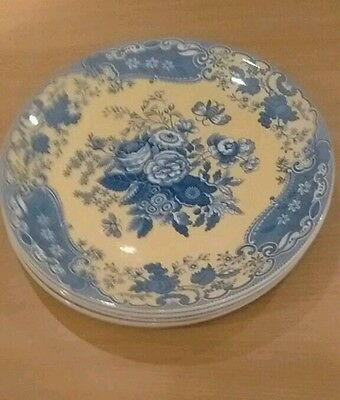 Extra large dinner plates 13in Spode Blue Room Garden Collection, Blue Rose x 6