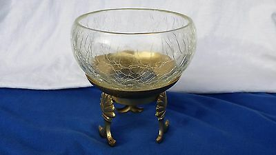 Vintage Crackle Glass Bowl With Brass Base Great Condition