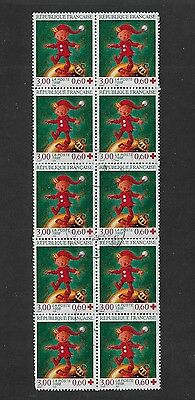 FRANCE - 1998 Red Cross Fund, Christmas booklet stamps, block of 10