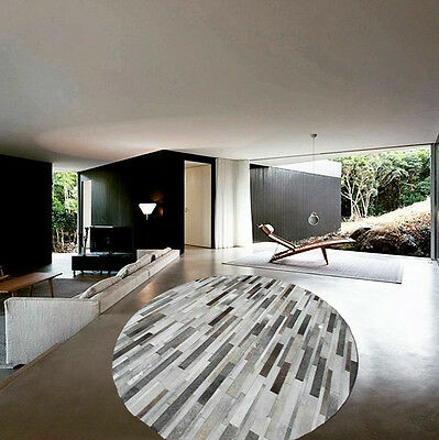 NEW Cowhide Rug Patchwork Cowskin Cow Hide Leather Carpet. Gray.