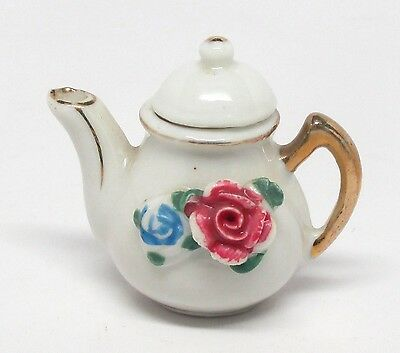 Vintage Occupied Japan - Miniature Toy Teapot with Raised Flowers