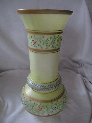 "Mt. Washington yellow vase hand enameled flowers vines gold rims 10"" tall"