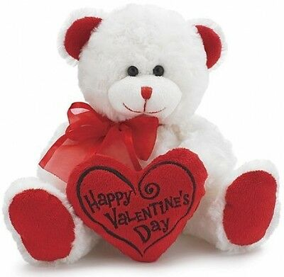 Valentine's Teddy  Bear Animal Plush White With Red Message Pillow gift love