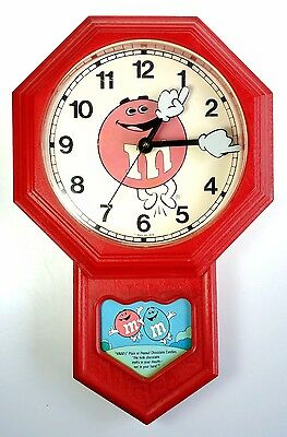 M & M s Wall Mount Clock Vintage 1979 Works Mars Candy