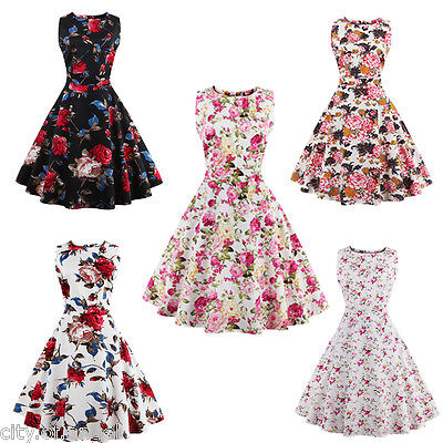 Retro Women Floral Swing 50s 60s Housewife Pinup Vintage Rockabilly Party Dress