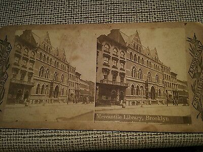 STEREOVIEW CARD Mercantile Library Brooklyn Ny American Series.