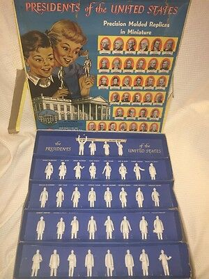 VINTAGE 1950s MARX MINIATURE PRESIDENTS FIGURES COMPLETE 36 PC SET IN BOX