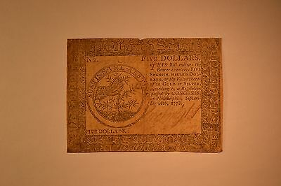 Continental Currency September 26, 1778 $5. Fine with a tear along the top half