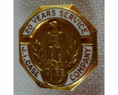 10K Gold Enamel 20 Years Service Case Tractor Company Badge Pin