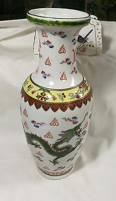 Vintage China export 1950s hand painted Dragon & Phoenix porcelain Vase rare