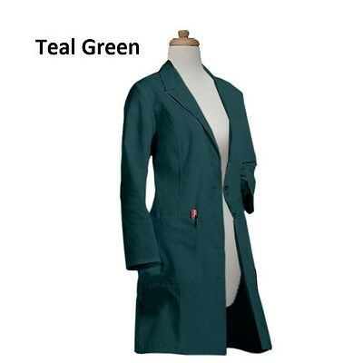Gesture Womens Big Pocket 37 Inch Long White & Colored Fashionable Lab Coats