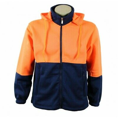Unisex Mens Ladies Hi-Vis Safety Work Wear Full Zip Hoodie Fleece Jacket Jumper