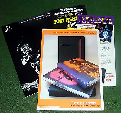 Four Jimi Hendrix advertising flyers for books,auction, exhibition.