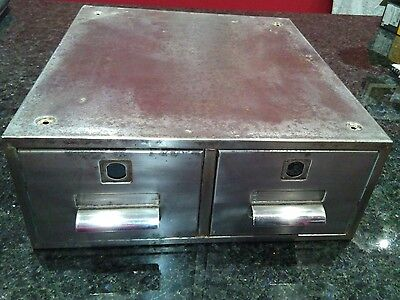 Vintage Stripped metal filing index cabinet unit two draw retro item industrial