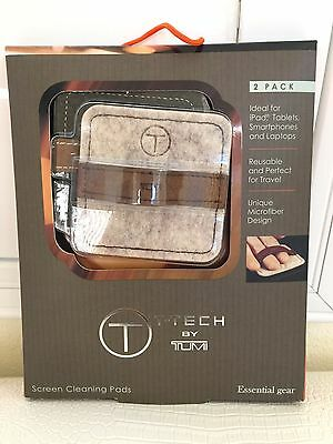 Authentic New T-TECH By TUMI SCREEN MONITOR CLEANING PADS TRAVEL LEATHER NIP