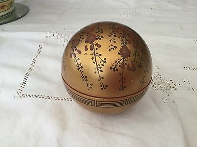 Chinese Lacquer Ware Globe Lidded Pot in Gold & Floral Design Very Collectable