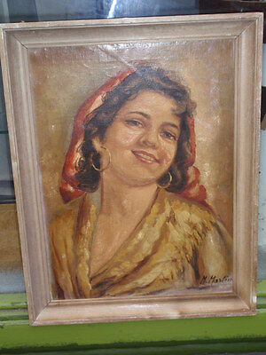 """Antique M.mazton """"gypsy Girl"""" Framed Original Signed Oil Painting On Canvas"""