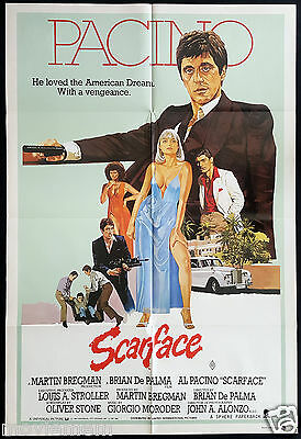 SCARFACE Vintage Australian One Sheet Movie poster Al Pacino