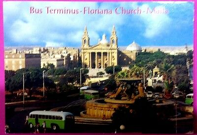 Malta postcard: Bus Terminus-Floriana Church,by John Hinde, posted with stamp.