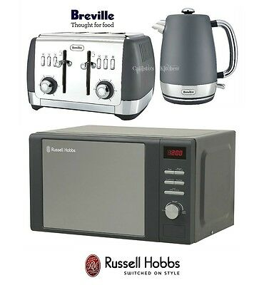 Grey Breville Strata Kettle and Toaster Set & Russell Hobbs Retro Microwave New
