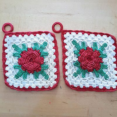 """Hand Crochet Red Rose Pot Holders Hot Pads 4.5"""" Square Lot of 2 Vintage"""