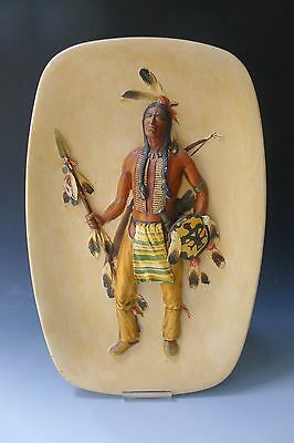 Vintage 1959 Bossons large wall plaque of Native American Indian Sioux warrior