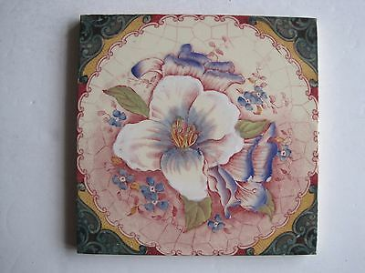 Antique Victorian Wall Tile Print And Tint Floral Lily & Small Blue Flowers